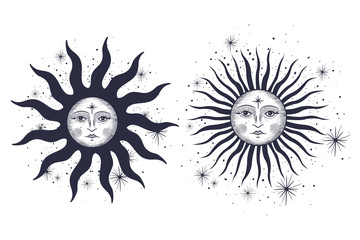 the face of the sun and the month, the stars, the Masonic tattoo, the design of T-shirts, alchemy, Akultism, medieval religion, retro, spirituality and isoteric tattoo. space and stars. vector graphi