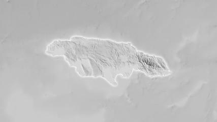 Jamaica, grayscale elevation - light glow
