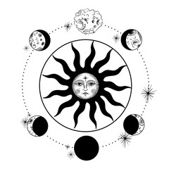 the face of the sun and the moon, the stars, the Masonic tattoo, the design of T-shirts, alchemy, Akultism, medieval religion, retro, spirituality and isoteric tattoo. space and stars. vector graphic