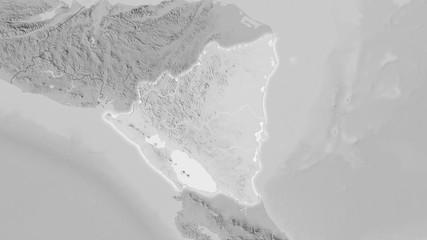 Nicaragua, grayscale elevation - light glow
