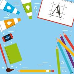 artistic book brush eraser pencil color tube acrylic vector illustration