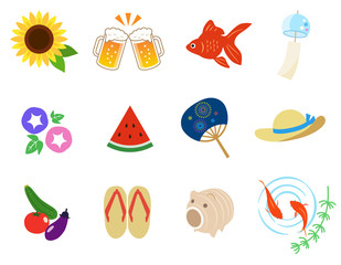 日本の夏 イラストアイコン|セット