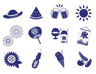 夏のアイコンセット(藍色)