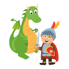 children's character. the brave knight and dragon vector