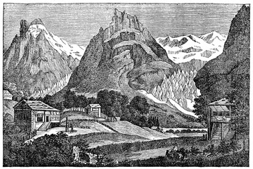 Grindelwald Glacier in the Swiss Bernese Alps (from Das Heller-Magazin, August 2, 1834)
