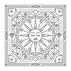 Sun. Abstraction. Linear vector illustration