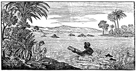 Swiming mailman at Peru (from Das Heller-Magazin, July 26, 1834)