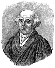 Samuel Hahnemann, German physician, best known for creating the system of alternative medicine called homeopathy (from Das Heller-Magazin, July 26, 1834)