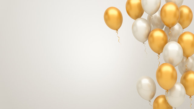 Gold and silver balloons background
