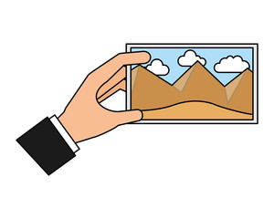hand with picture landscape work art icon vector illustration
