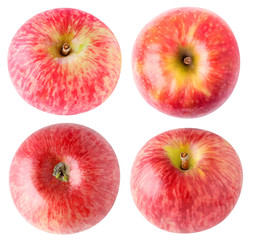 Isolated apples. Collection of red apples, top and bottom view, isolated on white background with clipping path