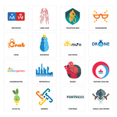 Set of shield and sword, fortress, olive oil, boxer, kindergarten, sun moon, crab, mountain bike, restroom icons