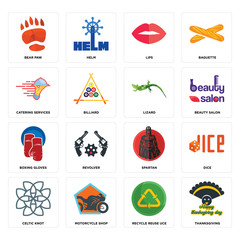 Set of thanksgiving, recycle reuse uce, celtic knot, spartan, boxing gloves, lizard, catering services, lips, bear paw icons