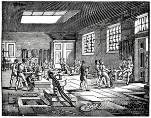 Interior of London mint or Royal Mint (from Das Heller-Magazin, July 12, 1834)