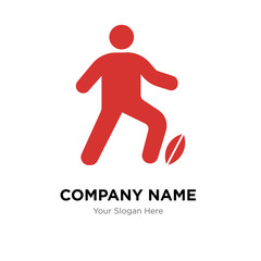 Man Playing Rugby company logo design template, colorful vector icon for your business, brand sign and symbol