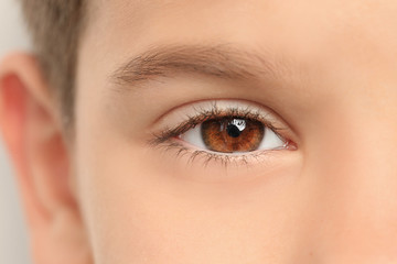 Little boy, closeup of eye. Visiting ophthalmologist