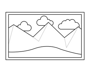 picture art landscape mountains sky decoration vector illustration thin line