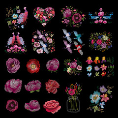 Traditional folk stylish stylish embroidery on the black background. Sketch for printing on clothing, fabric, bag, accessories and design. Vector, trend