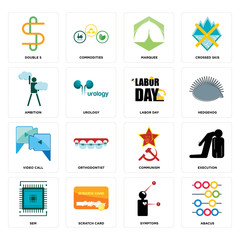 Set of abacus, symptoms, sem, communism, video call, labor day, ambition, marquee, double s icons