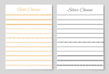 Gold and Silver Chains Set Vector Illustration