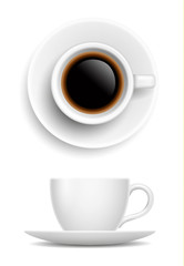 Vector realistic white cup of coffee - side and top view isolated on white background