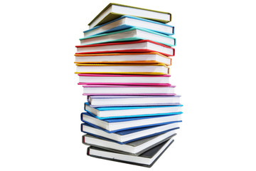 Pile of books with colorful covers, isolated on white background