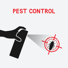 hand with spray. extermination of cockroaches
