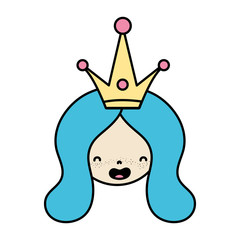 color woman head with long hair and crown