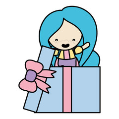 color woman with long hairstyle inside present gift