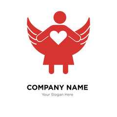 Angel with open arms company logo design template, colorful vector icon for your business, brand sign and symbol