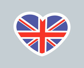 British Heart Cute Sticker Vector Illustration