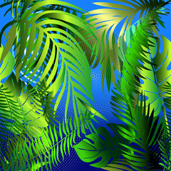 Palm leaves decorative seamless pattern. Vector blue abstract  background. Tropical floral ornaments. Green palm, fern leaves, trees, halftone, dots. Modern wallpaper. Fabric. Panel. Prints.