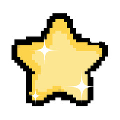 pixel sparkly star icon in the sky