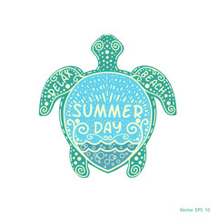 Sea turtle with pattern .Summer day