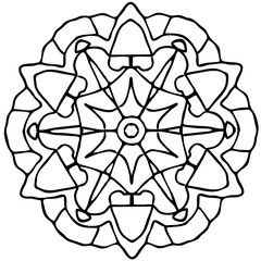 Contour drawing mandalas in black and white
