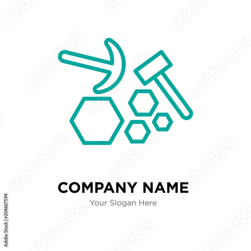 quarry company logo design template colorful vector icon for your