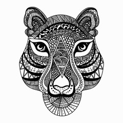 Beautiful hand drawn ethnic elements. Black and white tribal vector template for t shirt design, print on products,tattoo, design element and adult or kids coloring book page. Vector illustration