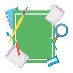 emblem with school creative utensils style