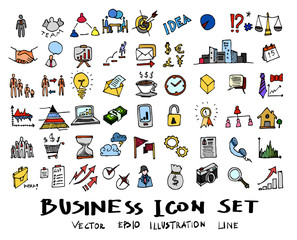 Hand drawn Sketch doodle vector line Business element colour icon set on white eps10