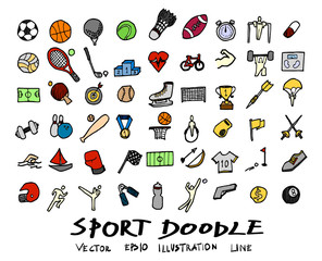 Hand drawn Sketch doodle vector line Sport element colour icon set on white eps10