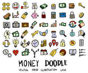 Hand drawn Sketch doodle vector line Money element colour icon set on white eps10