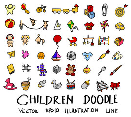Hand drawn Sketch doodle vector line Children element colour icon set on white eps10
