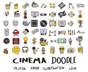 Hand drawn Sketch doodle vector line Cinema element colour icon set on white eps10