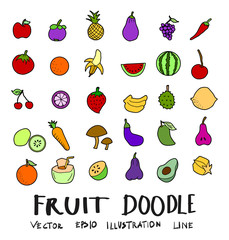 Hand drawn Sketch doodle vector line Fruit element colour icon set on white eps10