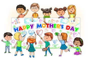 Cute cartoon kids different nationalities hold and paint banner happy mothers day