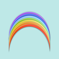 Vector illustration, simple color rainbow in papercut style with transparent shadows isolated on blue background