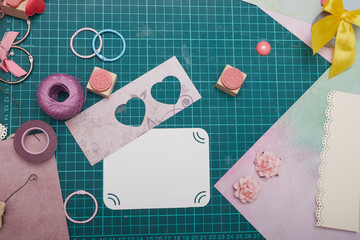 scrapbooking, crafts, creativity, paper, scissors, paper clips, ribbons, hearts, greeting card, decorations