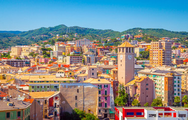 Panoramic view of traditional architecture in Savona, Liguria, Italy