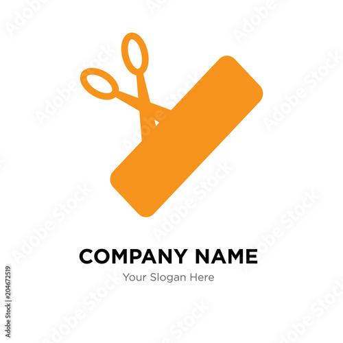 scissors and price company logo design template colorful vector
