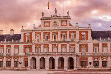 Aranjuez Royal palace a beautiful city in Spain to travel and tourism the residence of the king of Spain in the Madrid region. Open also as museum.